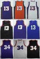 Wholesale Charles Red - Retro Jerseys 34 Charles Barkley 13 Steve Nash Throwback Orange Purple White Black Stitched Shirts With Player Name Size S-3XL