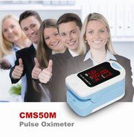 nabız oksimetresi ücretsiz gönderim toptan satış-YENI CMS50M Parmak Pulse Oksimetre Parmak Oksijen Monitörü SPO2 PR, LED CASE