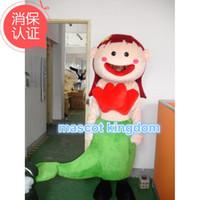 Wholesale Mermaid Mascot - Mermaid Girl Mascot Costume Fish Bubble Figure Fancy Dress Outfit Free Shipping