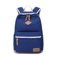 Wholesale Canvas Backpacks Peach - 2017 new Printed canvas bag backpack Middle school student bag Dot and Lace Women's backpack H1090