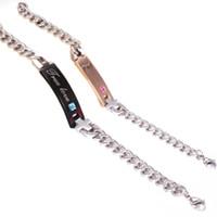 "Wholesale Couple True Love - 2Pcs Titanium Stainless Steel Couples Chain Bracelet For Men Women Jewelry Split Heart ""True Love"" Letters Bracelet For Lovers"