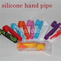 Wholesale Unbreakable flexible over colros for chose silicone smoking tobacco hand pipe with a removable metal dish silicone dab rigs
