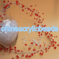 Wholesale Acrylic Bead Faceted - 4Ft 1.2M Acrylic Crystal 32 Faceted Round Beads Tree Branch Handmade Crystal Faceted Beads Tree Branches Wired Garland