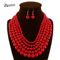 New Nigerian Wedding Jewelry Sets Indian Bride Acessórios Mulheres Declaração Collar African Round Beads Necklace Earring zyxl105