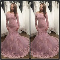 Wholesale Plus Dresses For Special Occasion - Gorgeous Mermaid Lace Appliques Prom Dress 2017 Off the Shoulder Beaded Long Sleeve Prom Gowns For Special Occasion Dresses