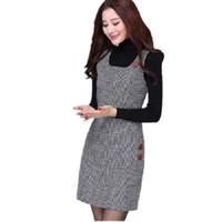 Wholesale Women Elegant Woolen Dresses - New Spring Autumn Women Dress 2017 Fashion Sleeveless Woolen Dresses High Quality Elegant A-line Dress Brand Ladies Vestidos DR012