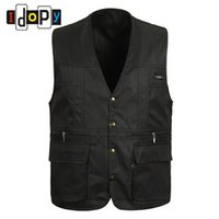 Wholesale Work Jackets For Men - Wholesale- 100% Cotton Summer mens Suit Sleeveless Working For Men Outdoors Casual Multipocket Waistcoat Men Vest Photography Jacket