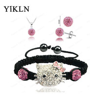 Hello Kitty Fashion Shamballa Sets Pulsera Pendientes colgante 10mm Micro Pave CZ Disco bolas de bolas Shamballa Jewelry SHSE41