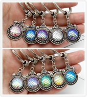 Wholesale Jewelry Mermaid Ring - Fashion Vintage 10 COLORS Mermaid Key Rings Fish Scale Charms Keychain Car Keyring Jewelry For women Men Gift ACC