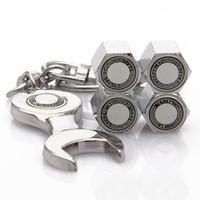 Wholesale Mini Car Wheel Keychain - 4pcs Car Wheel Tire Valve Caps with Mini Wrench & Keychain Chrome Tire Valve Stem Caps 4-Piece set