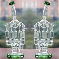 Wholesale Cheap Glass Tops - New matrix glass bong two function glass water pipes thickness glass Creative water pipe top grade cheap smoking pipe water bong oil rig