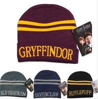 Wholesale Easter Character Costume - Harry Hat Cap Beanie Preppy Costume Halloween Christmas Gift Slytherin Gryffindor Ravenclaw Hufflepuff Hat for harry potter cos b916