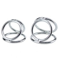 Wholesale Three Cock Rings - 32*40*45mm stainless steel penis ring three rings cock ring metal cock ring ball stretcher sex products for men penis