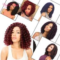 Wholesale janet braiding hair online - 8 quot Jumpy Wand Curls Crochet synthetic Braiding Hair Janet Curly Crochet Hair Braids Jamaican Bounce Twist Braid kinky curly Hair Extensions