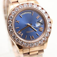 Wholesale Diamond Top - Top luxury brand watch men Day-Date automatic movement AAA sapphire Diamonds watch Blue face rose gold Stainless mens watches Free shipping