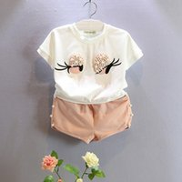 Wholesale Tshirt Toddler Cartoons - Girls Clothing Sets Summer Baby Clothes Cartoon Eyes Pearl Kids Outfits Toddler Fashion Tshirt Shorts Children Suits
