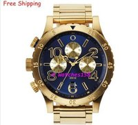 Wholesale Mens Water Proof Watches - NX Mens A486-1922 A4861922 Mens Watch 48-20 CHRONO Gold Blue Stainless-Steel Quartz Watch 48mm water proof Wristwatch + original box