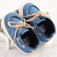 Wholesale Baby Boys First Walking Shoes - First Walkers Shoes For Baby Boys Gilrs Canvans Lace-up Newborn Walk Shoes Infant Non-slip Shoes Solid High Quality