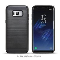 Wholesale Kickstand Double - For Samsung Galaxy S8 S8+ S8 plus Armor Wire drawing back cover Kickstand Hard Cases TPU+PC 2 in 1 Double Protection Phone Cases