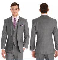 boda chaleco gris al por mayor-Por encargo Slim Fit Dos botones formal El mejor hombre Trajes de boda Novio esmoquin Gray Classic Hombre Novio Traje de novia (Chaqueta + Pantalones + Tie + Vest)