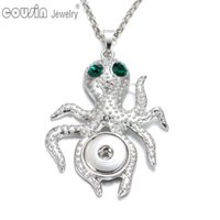 Wholesale Octopus Slide - New Arrival 24pcs lot 6 styles octopus pendant necklaces for women with snake chain fit 18mm snap button jewelry DZ0226