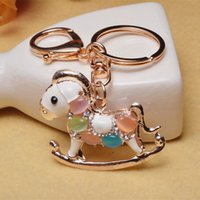 Wholesale Stainless Steel Round Carabiner - Wholesale Bags Buttons Keychains For Lady Beautiful Gem Horse Keys Chain Accessories Wholesale 2017 New Arrival Free Shipping
