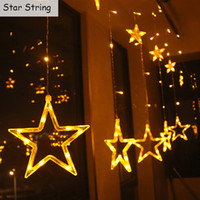 Wholesale string light curtain stars resale online - LED Curtain Light Star and Moon Holiday String Light M led Waterproof Decoration lamp for Wedding Party Christmas Light