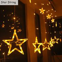 dekorasyon lambaları yıldızlar toptan satış-LED Perde Işık Yıldız ve Ay Tatil Dize Işık 2 M 138led Su Geçirmez Dekorasyon lamba Düğün için, Parti, Noel Işık