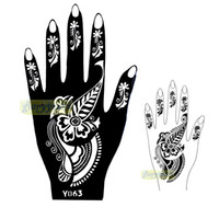 Wholesale Tattoo Picture Stencils - Wholesale-1pc New Seasons Classic Totem India Design Henna Hands Art Tattoo Template Mixture Picture Tattoo Stencils for Women Y063