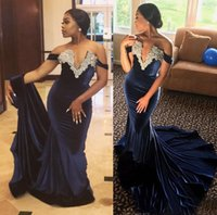 Wholesale woman pageant dress bead - Gorgeous Navy Blue Off-Shoulder Appliques Sheath Evening Dresses 2017 Beads Stretch Satin Pageant Cheap Prom Dress Women Formal Party Gowns