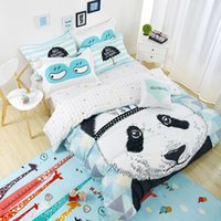 Wholesale Duvets For Children - Wholesale- Lovely Panda Bedding set Black and White Duvet Cover Cartoon for children kids Queen King 4pcs Bedclothes bed linen bed sheet