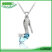 Wholesale China Wholesale Jewelry Imports - CJW020 china import necklace jewelry Hot sale fashion jewelry crystal shoes shaped necklace pendant necklace