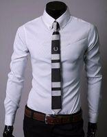 Wholesale Long Blouse Wholesale - Wholesale- 5XL Plus Size Mens Suit Printed Blouse Brand Korean Grid Long-sleeved Business Formal Shirt New Slim Fitness Male Shirt P30T