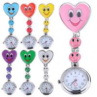 relógio de bolso de quartzo coração venda por atacado-Sorriso quente Rosto Coração Clip-on Enfermeira Médico Broche Pingente Fob Relógio De Bolso De Quartzo