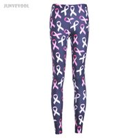 Wholesale Legging Lycra Galaxy - Wholesale- Lycra Spandex Leggings New Fashion Elastic Legging Women Pink Ribbon Printed Trousers Fitness Joggings Women's Galaxy Clothings