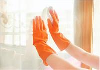 gants de nettoyage jaune achat en gros de-Le gant de nettoyage mince les gants de ménage en caoutchouc jaunes de gants de ménage ne glissent pas la conception écologique de long plat long lavant des gants de lavage durables
