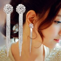 Wholesale European Earrings Diamonds - New Fashion European Earrings Long Retro Tassel Earrings Anti Allergic Diamond Earrings For Women SY- 63