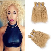Unprocessed Blonde Virgin Cabelo peruano Afro Kinky Curly Weft 3Pcs Lote 10