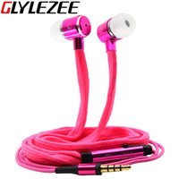 Wholesale Glylezee Shoelaces Ear Hook Stereo Metal Bass Head Earphone Headset Music Earpieces with Mic Remote Control for Cellphone