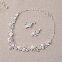 spring beauty flower - Beauty Silver Flower Bridal Necklace Earring Suits pieces Jewelry Suits Wedding Bridal Jewelry P419014