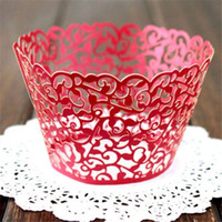 Vente en gros - 12pcs Vintage Hollow Out Vine Cupcake Wrappers Paper Wraps Cases Wedding Birthday Decor