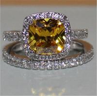 sarı düğün yüzük seti toptan satış-Moda 3ct Prenses kesim sarı Topaz taş Yüzük seti 2-in-1 Elmas Takı Kadınlar Için 925 Ayar Gümüş Nişan Düğün Band Yüzük