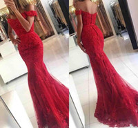 Wholesale Mermaid Eveing Dresses - Gorgeous Red Mermaid Prom Dresses Sequins Beads Lace Applique Off Shoulder Tiered Tulle Floor Length Button Back Formal Eveing Party Gowns
