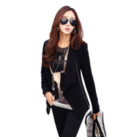 Wholesale Korean Long Coat Wholesale - Wholesale- New Spring Autumn Women Korean Zipper Slim Casual Cardigan Long Sleeve Poncho Outwear Jacket Coat Suit Top
