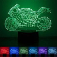 Forma do motor USB Lâmpada LED 3D Luz noturna Lâmpadas de mesa Interruptor de toque Motorcycle Sleeping Lamparas Light Gift For Kids Child