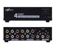 Wholesale Tv Audio Out Splitter - 4 Port 1 In 4 Out 3 RCA AV Audio Video TV Box HDTV DVD PS 3 Splitter Amplifier