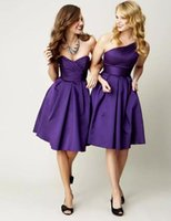 Wholesale Bridesmaid Dresses One Shoulder Corset - Cheap Simple Purple One Shoulder Sleeveless Short Bridesmaid Dress Satin Corset Knee Length A-line Zipper Elegant Wedding Party Dresses Gown