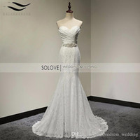 Trumpet/Mermaid springs silk ribbon - Solovedress Real Photos Elegant Sweetheart Floor Length Mermaid Lace Wedding dress Bridal Gown Cheap Price