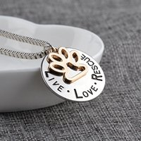 Wholesale Cheap Cat Jewelry - fashion necklace Live Love Rescue letter necklaces Cat Dog Paw Pendant Necklace Mothers Day gifts jewelry cheap wholesale