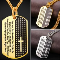 Wholesale Necklace Men Dog Tags - U7 New Inspirational Jewelry Cross Letter Pendant Necklace Gold Plated Stainless Steel Rope Chain Dog Tags Lord Prayer for Women Men GP2378